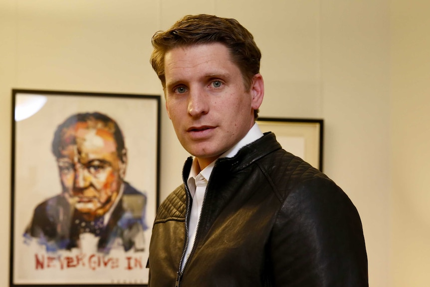 Andrew Hastie in a leather jacket