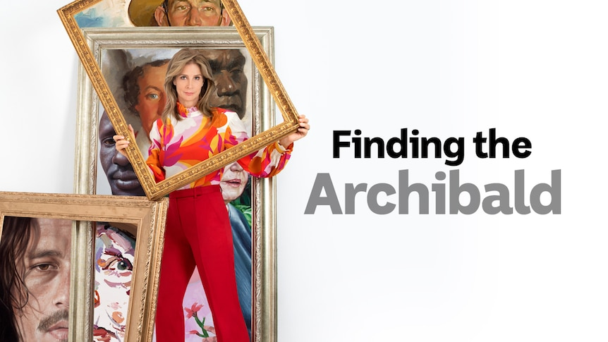 Actor Rachel Griffiths holds up a picture frame in front of collaged images from past Archibald Prize entries
