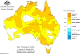 map showing orange covering most of australia