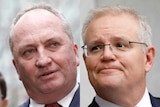 A composite image of Barnaby Joyce and Scott Morrison