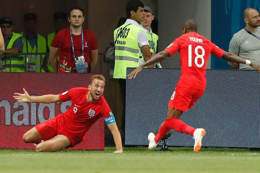 Harry Kane celebrates second goal against Tunisia