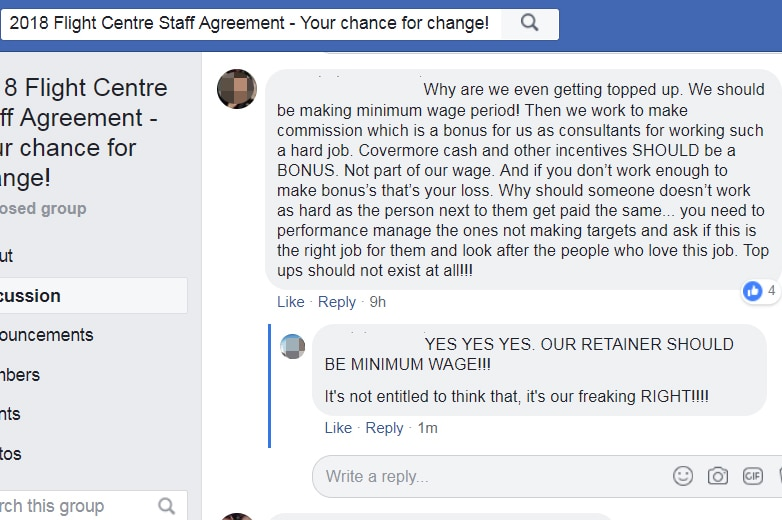 A Facebook discussion thread, where people are voicing their frustration around wages and top ups