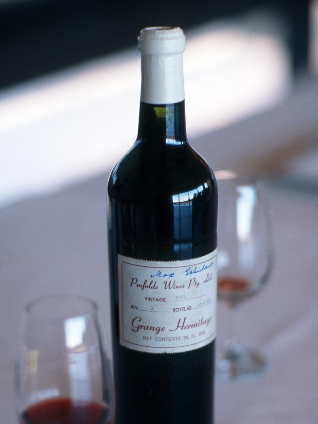 A bottle of Penfolds Grange Hermitage created in 1951.