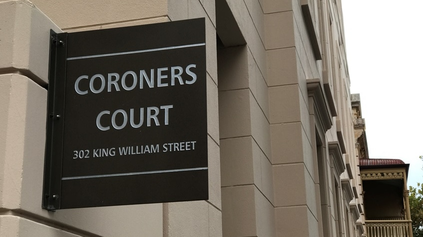 The Coroners Court sign in Adelaide.