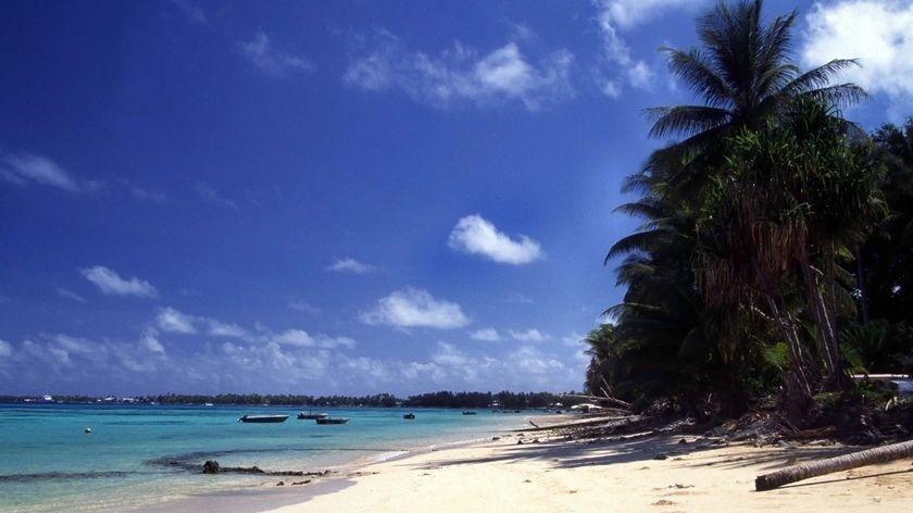 Beach scene on the island of Tuvalu, in the Pacific Ocean east of Australia