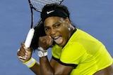 Ominous form ... Serena Williams celebrates winning her semi-final match against Agnieszka Radwanska