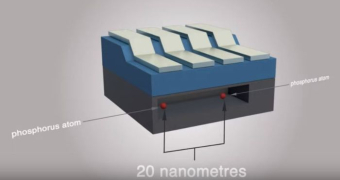 A diagram showing two phosphorus atoms 20 nanometres apart in a compartment of a quantum computer.