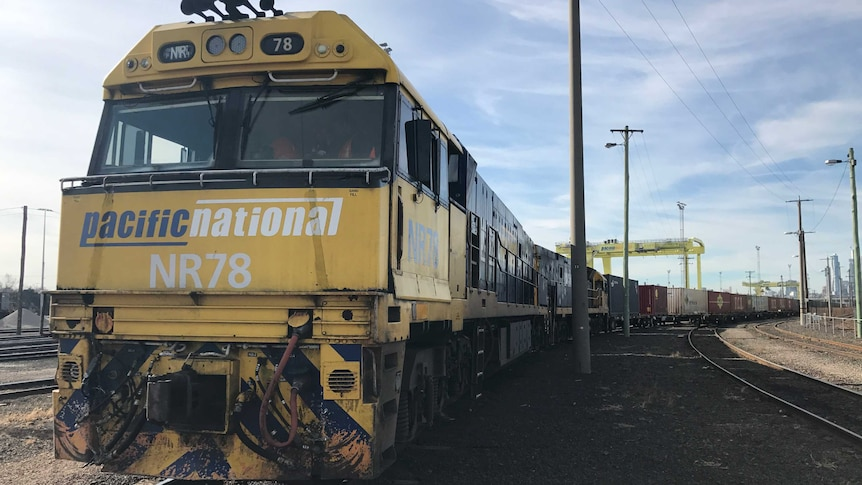 A freight train in Melbourne