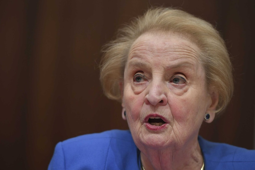 Former US Secretary of State Madeleine Albright speaks in a close up photo.