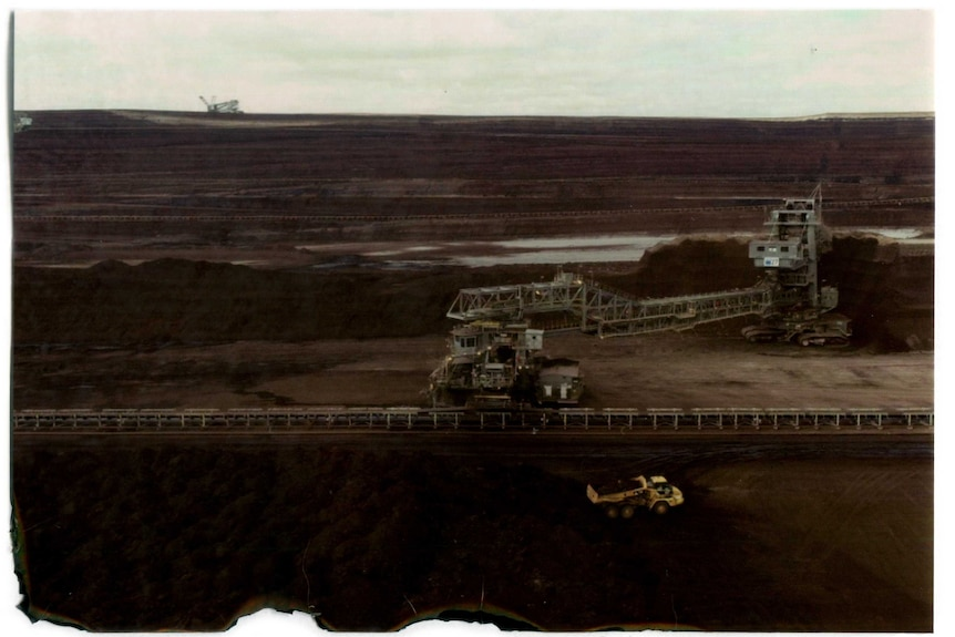 An aerial shot of a brown coal mine in Victoria's Latrobe Valley.
