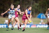 Brisbane Lions Breanna Koenen during the Round 5 AFLW match between the Brisbane Lions and the Geelong Cats in 2019.