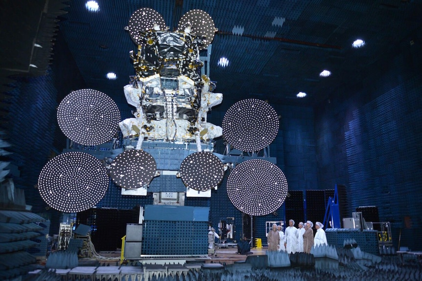 Artist concept of Skymuster satellite in space.