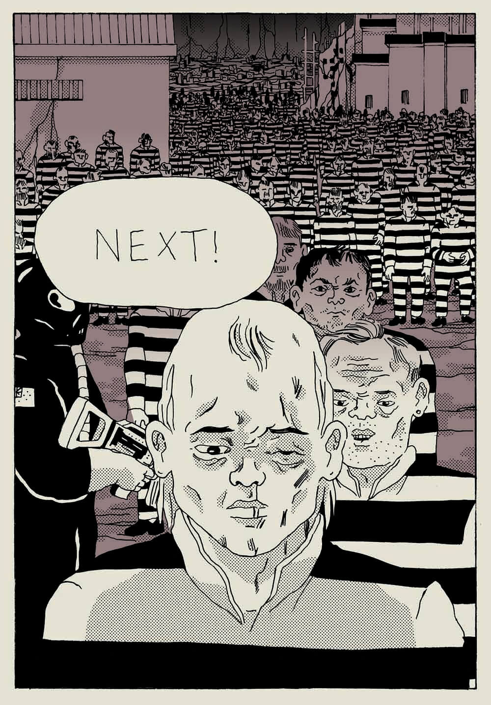 A speech bubble reads NEXT and floats above man with one closed eye. Behind him is a long queue of prisons in striped uniforms.