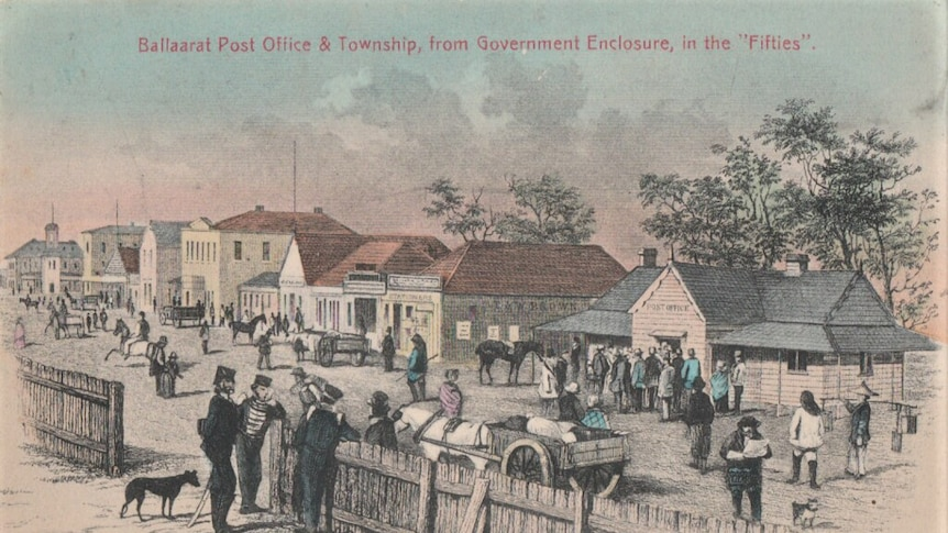A hand-drawn picture of the main street of Ballarat during the 1850s