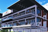 A digital impression of a proposed three-level grandstand at the Fannie Bay race course