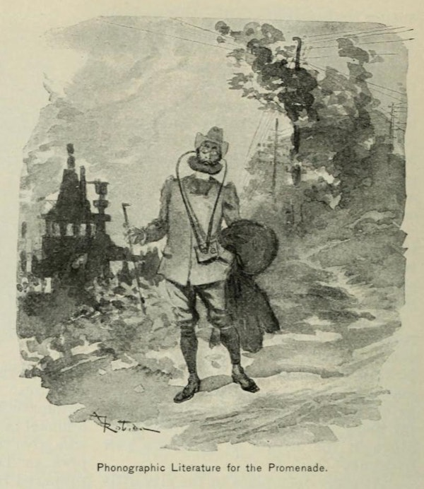 An old, black and white drawing of a man with long wires stretching from his ears to a small box at his waist.
