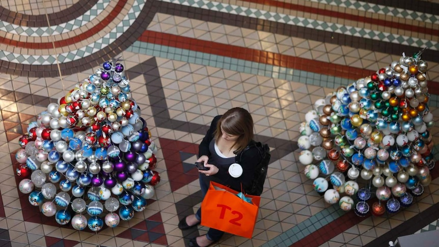 A shopper stands next to Christmas trees