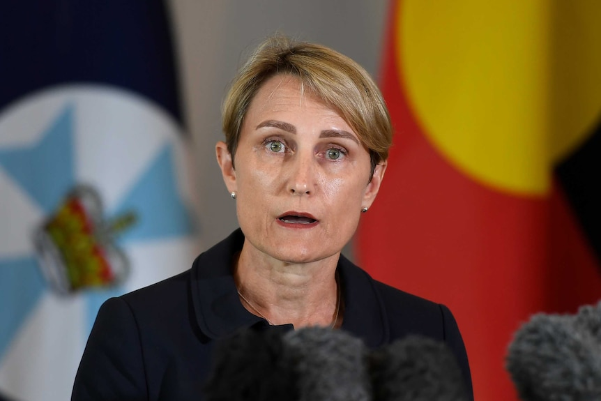 Dr Sonya Bennett speaks at a press conference in Brisbane.