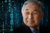 An image of Japan's emperor surrounded by abstract computer code