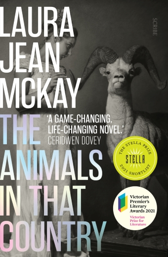 The Animals in That Country by Laura Jean McKay, a black and white image of a woman looking at a ram