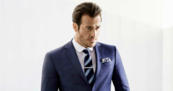 Model wearing Rhode & Beckett suit