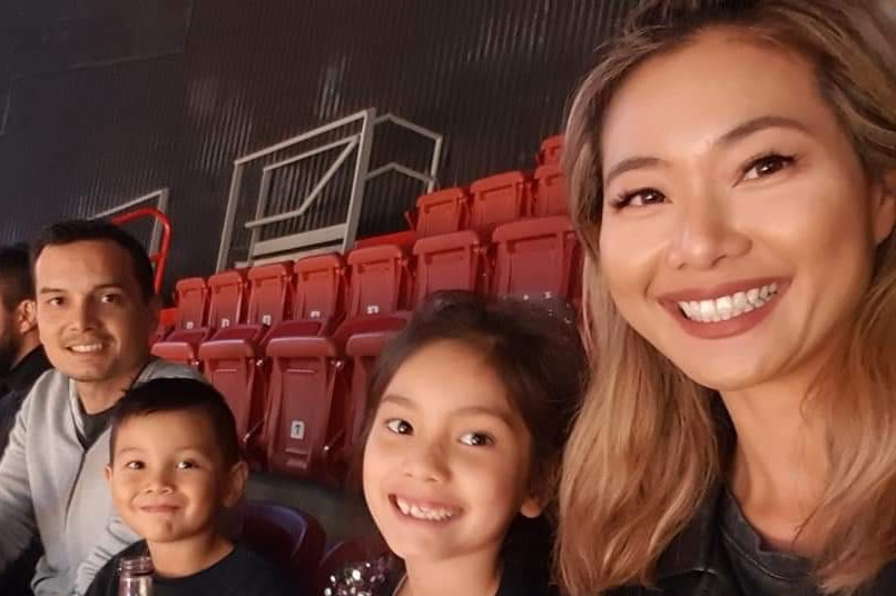 Pansy Leung with husband Adrian Eastman and their children.