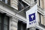 A purple and white NYU flag hangs from a brownstone building in New York City.