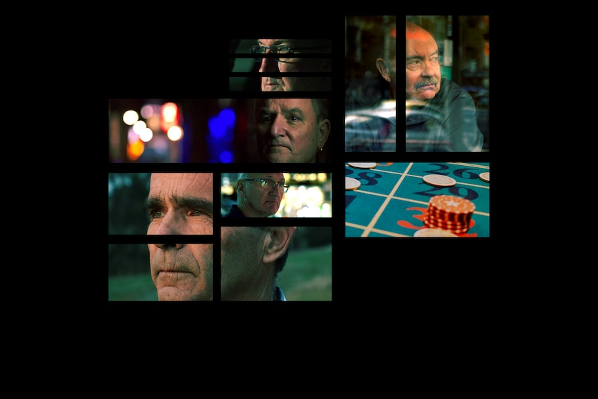 The faces of five men, and chips on a casino table, in separate rectangles spaced apart.