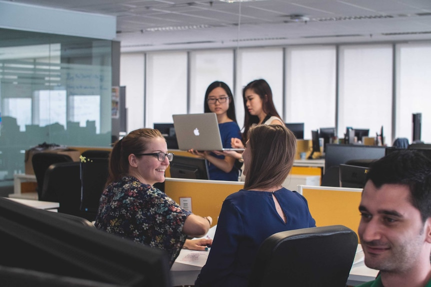 Four female and one male worker talk in an office