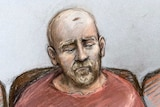 A court sketch of a bald man with pale eyebrows and beard