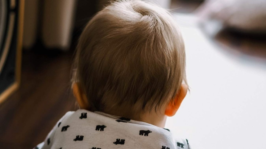 A baby faces away from the camera showing only the back of his head.