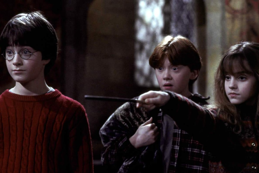 Harry, Ron and Hermoine in the Philosopher's Stone.