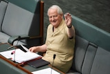 Philip Ruddock wears a safari suit for charity in the chamber at Parliament House in Canberra.