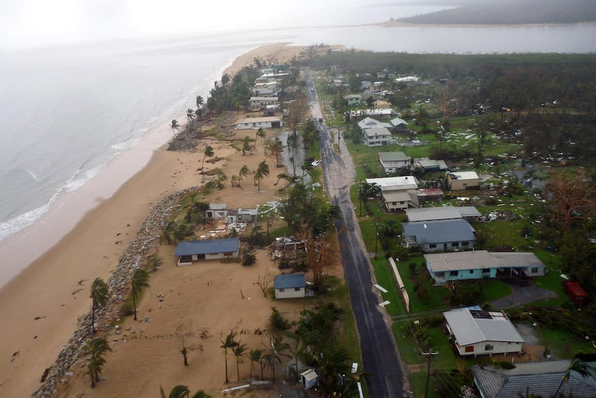 Foreshore of Tully Heads at the mouth of the Tully River is devastated by a storm surge whipped up by Cyclone Yasi in 2011.