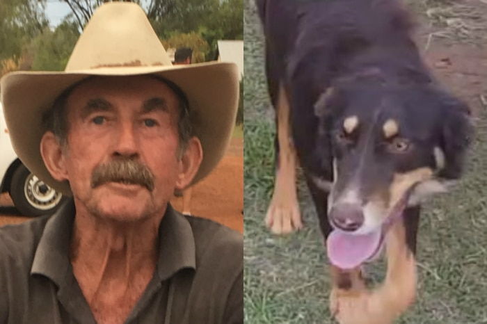 Missing person Paddy Moriarty riding an esky and his dog Kelly.