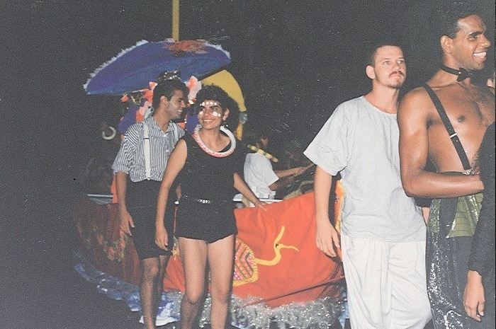 Keith Ball, Ray Delaney, unknown, Lewis Lampton march in the 1988 Sydney Gay and Lesbian Mardi Gras.