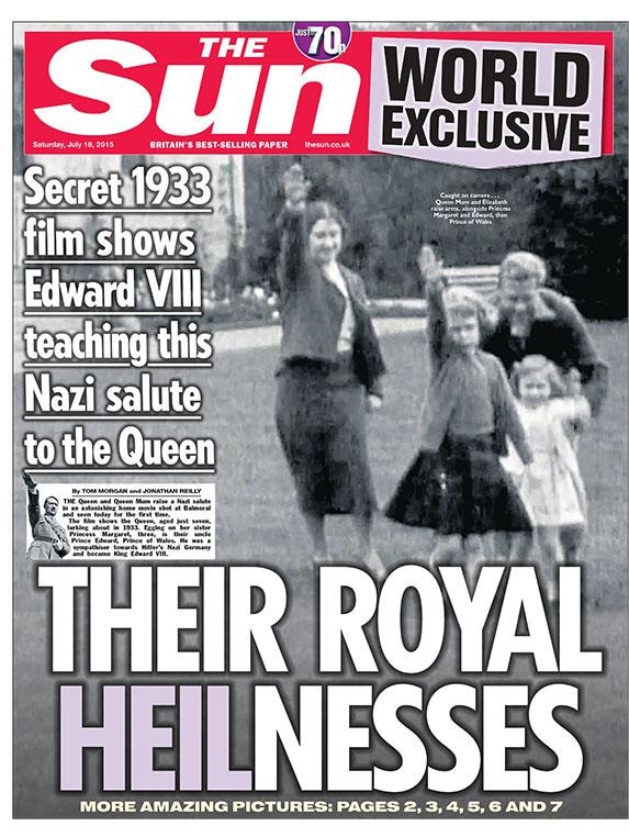 The Sun front page showing Queen Elizabeth doing the Nazi salute aged about six.