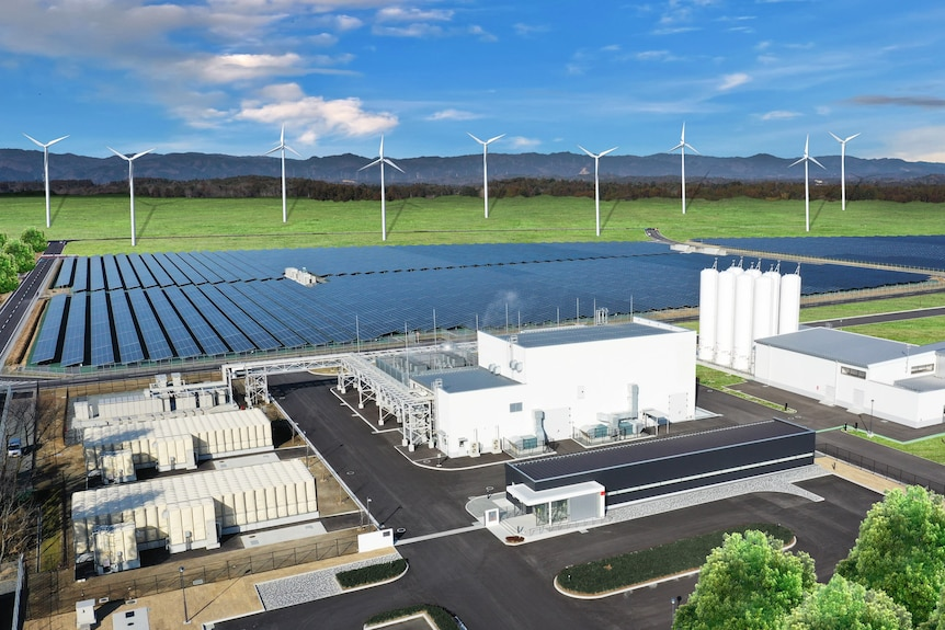 An artist's impression of a hydrogen power plant.
