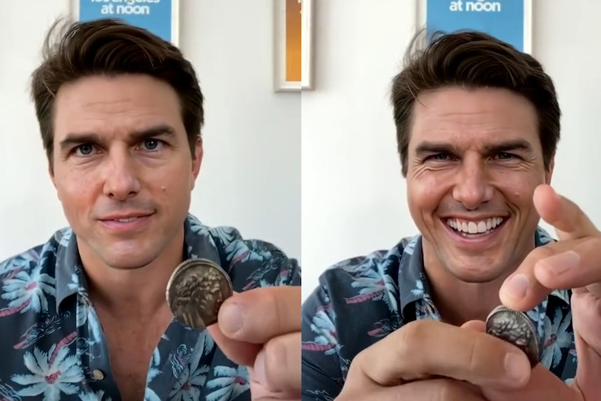 A deepfake image of Tom Cruise doing a coin trick.