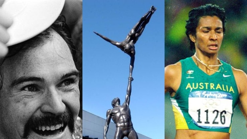 Robert smiles, Nova runs with her eyes closed, a picture of the AIS statue in between them.