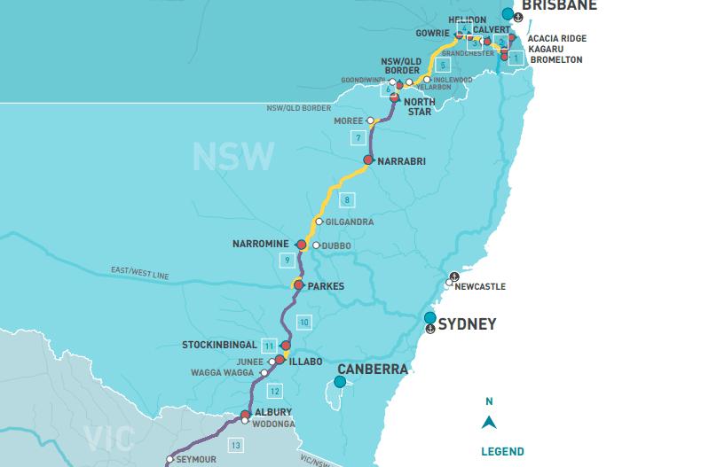 Brisbane to Melbourne inland rail alignment map, April 2021