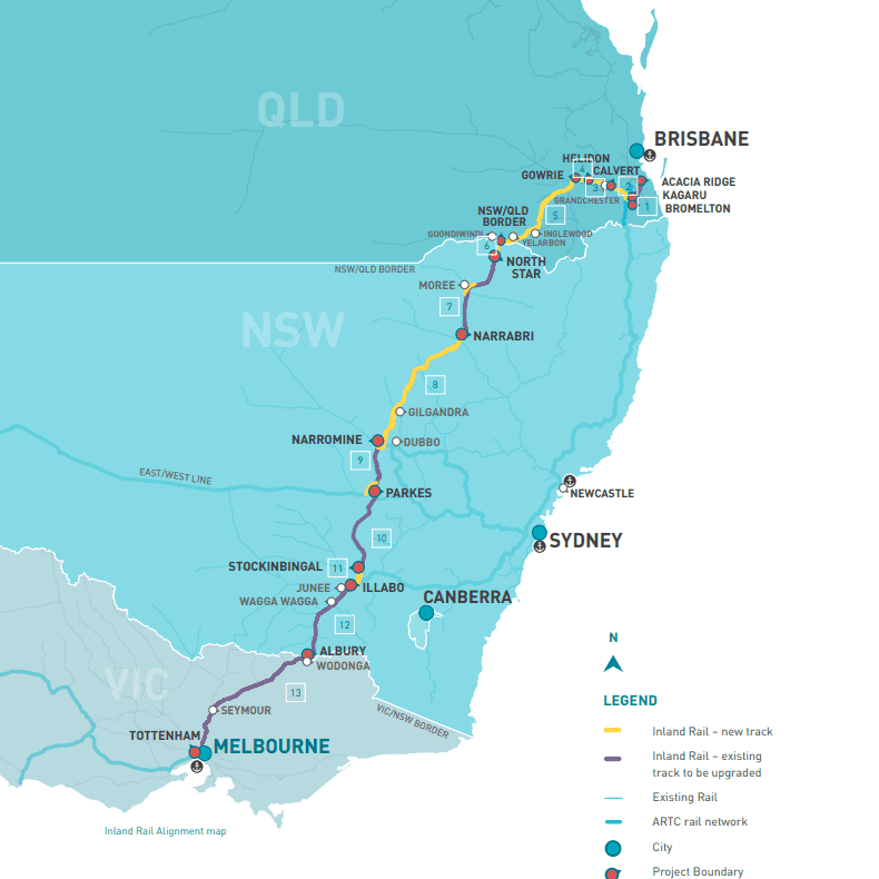 Brisbane to Melbourne inland rail alignment map, April 2021