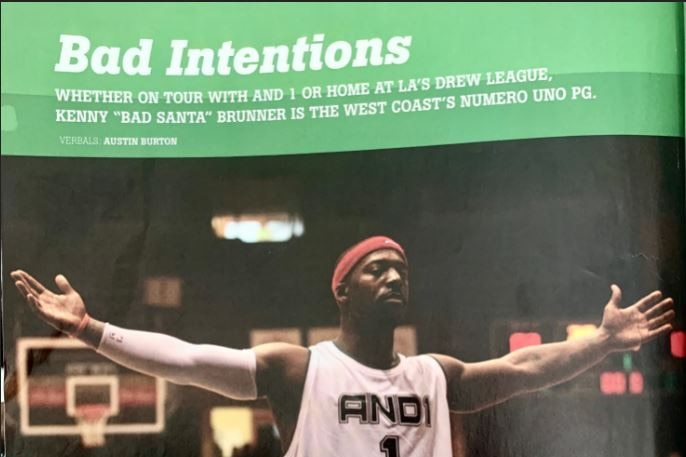 A magazine cover with a green headline and photo of a basketballer on court with his arms outstretched