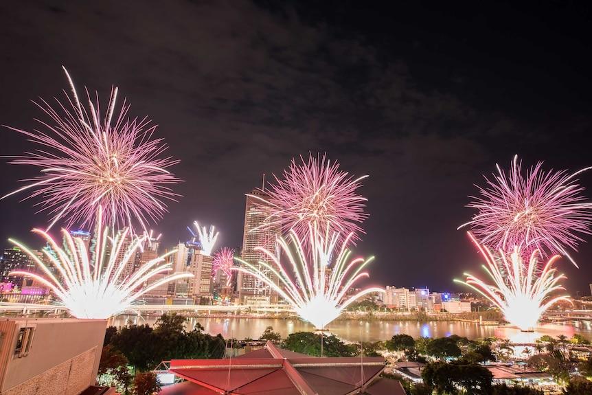 Fireworks light up the sky over Brisbane