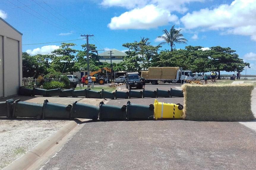 Wall of wheelie bins