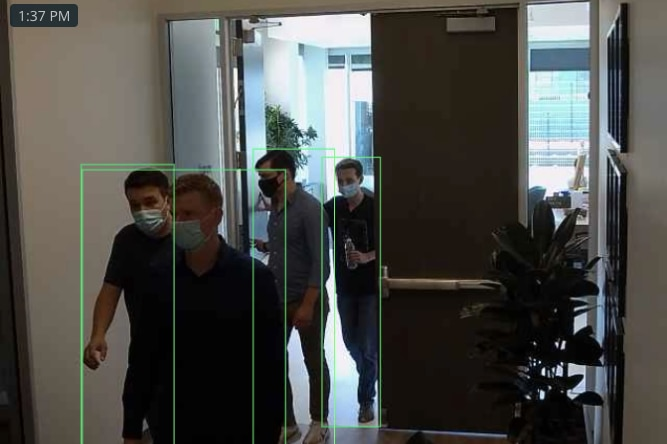 A photo taken from the Verkada website demonstrating the camera's ability to detect movement and individual people.