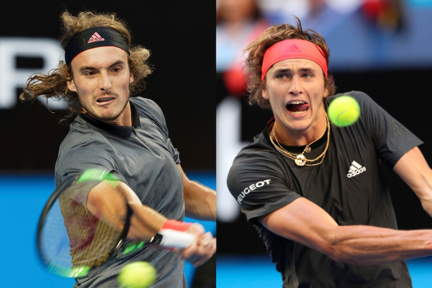 Composite photo of tennis players Stefanos Tsitsipas of Greece and Alexander Zverev of Germany.