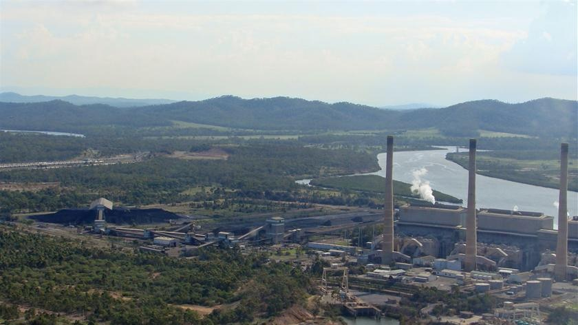 An aerial shot of the Gladstone power Station and surrounding industrial infrastructure.