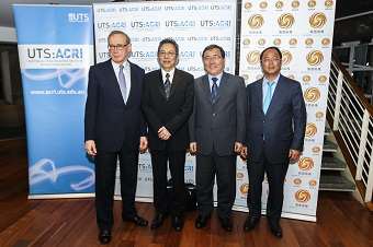 Bob Carr with Mr Huang