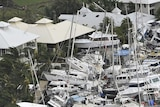 Boats piled on top of each other at the Port Hinchinbrook Marina after Cyclone Yasi hit in 2011.